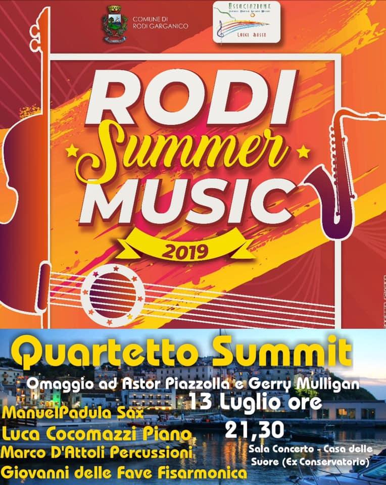 RODI SUMMER MUSIC-13 LUGLIO -QUARTETTO SUMMIT