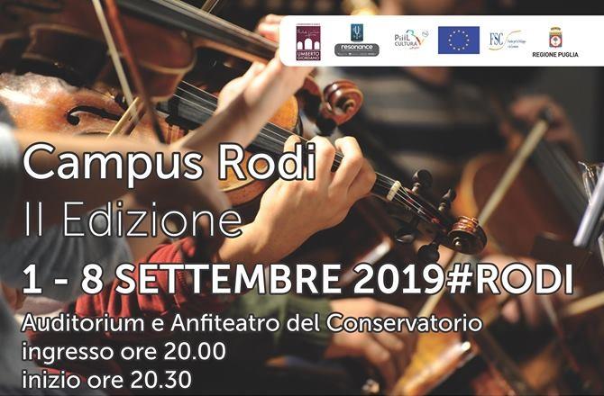 CAMPUS RODI II EDIZIONE 1-8 SETTEMBRE 2019