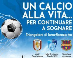 Domani a San Marco triangolare con Manfredonia e Apricena. Evento di beneficenza organizzato Rocco Augelli