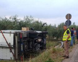 Incidente sulla SP 41, furgone Silac fuori strada Una gomma forata all'origine del sinistro, illeso il conducente
