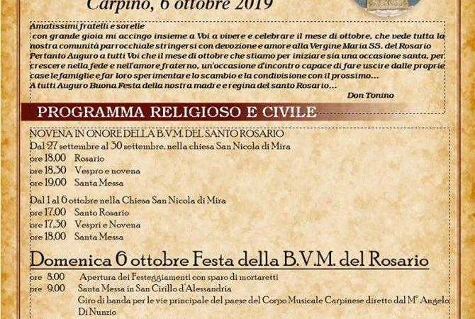 CARPINO, 6 OTTOBRE – FESTA DELLA B.V. del ROSARIO