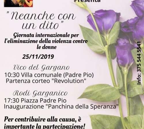 VICO/RODI : NEANCHE CON UN DITO : Giornata internazionale per l'eliminazione della violenza sulle donne