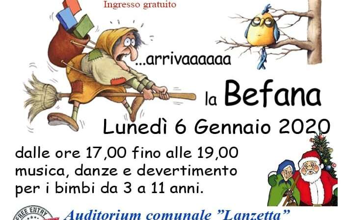 """VICO DEL GARGANO: Auditorium """"Lanzetta"""" – Arriva la Befana"""
