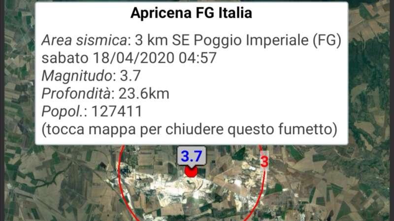 Apricena/Poggio Imperiale, terremoto magnitudo 3.7 alle ore 4.57
