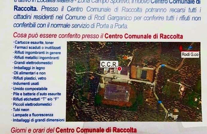 RODI GARGANICO, dal 13 luglio, attivo il nuovo centro comunale di Raccolta